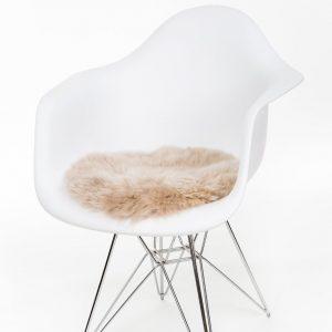 Silky Sheepskin Round Seat Pad in Dark Linen
