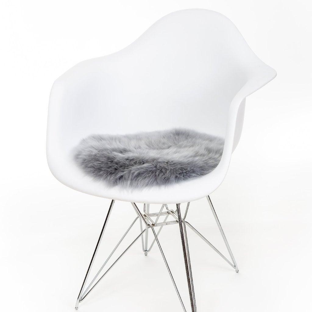 Silky Sheepskin Round Seat Pad in Platinum Grey