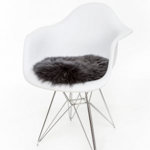 Silky Sheepskin Round Seat Pad in Steel Grey