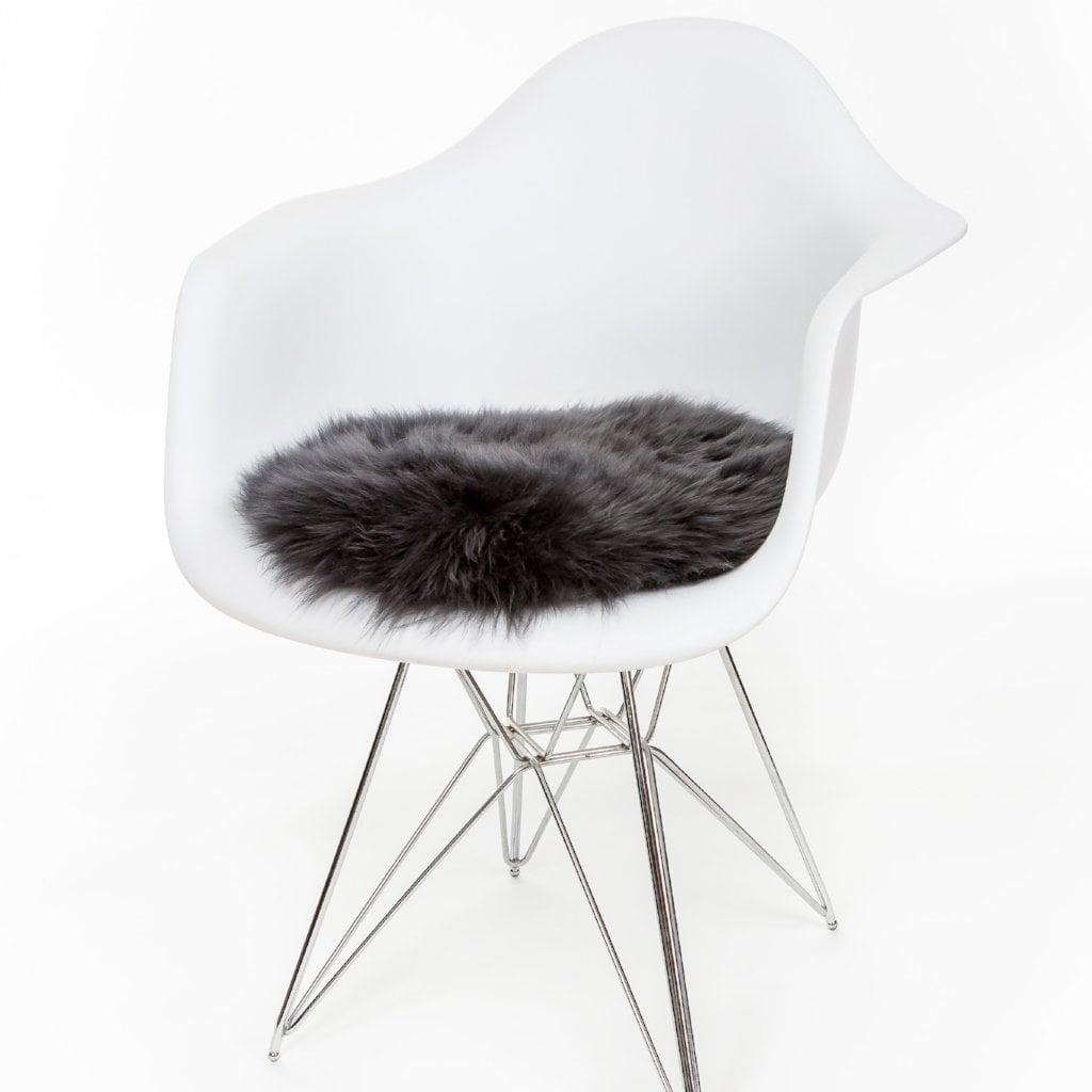 Silky Sheepskin Round Seat Pad in Steel Grey