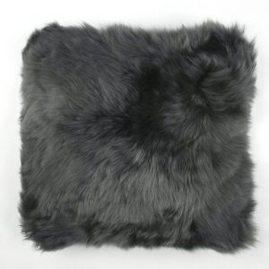 Silky Sheepskin Square Seat Pad in Steel Grey