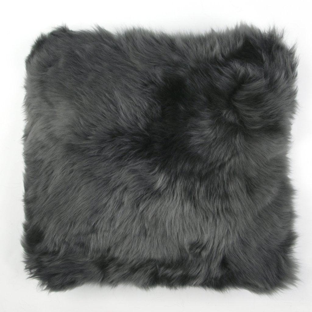 Silky Sheepskin Square Seat Pad in Steel Grey