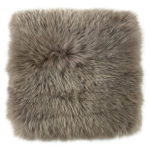 Silky Sheepskin Square Seat Pad in Vole