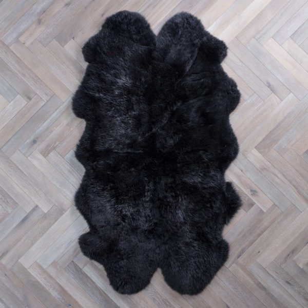 Silky Quad Sheepskin Rug Charcoal