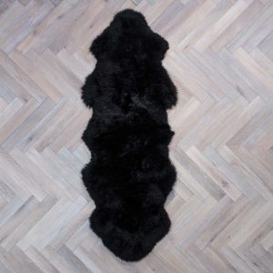 Silky Double Sheepskin Rug Black