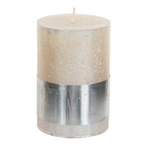 Metallic Cream Pillar Candle 10x7cm