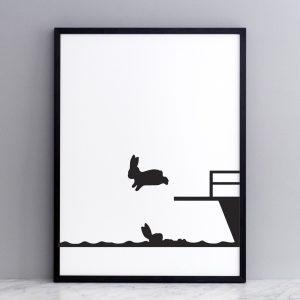 Framed Diving Rabbit Print