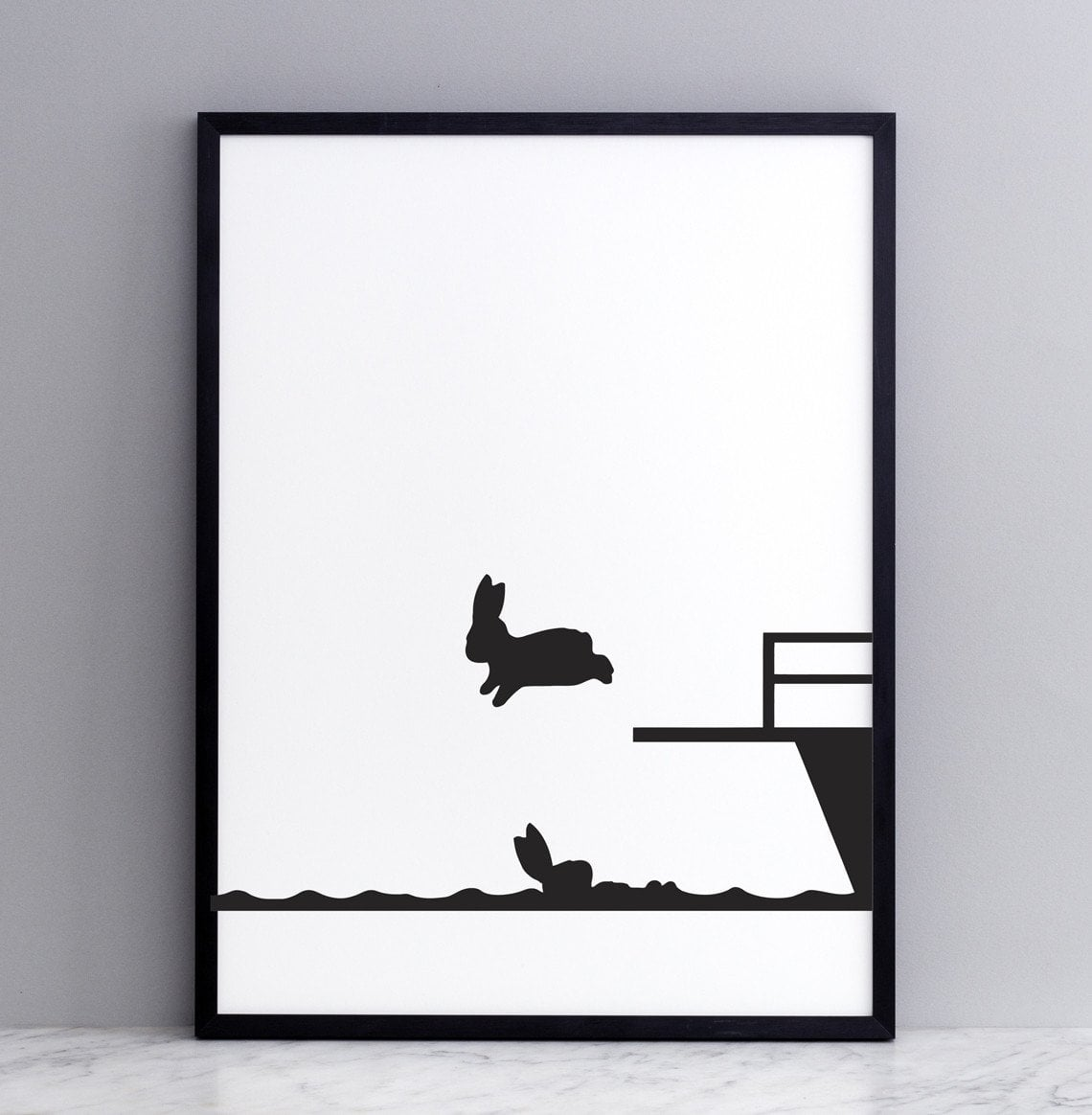 Diving Rabbit Print with Frame