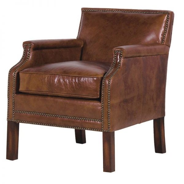 Brown Leather Studded Club Chair