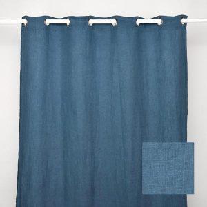 Stonewash Linen Curtain Jeans Blue