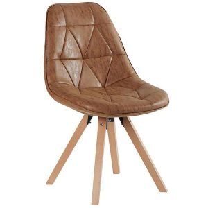 Tan Faux Leather Chair With Beech Legs