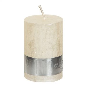 Metallic Cream Pillar Candle 6x4cm