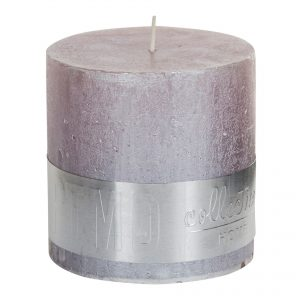 Metallic Soft Pink Block Candle 10x10cm