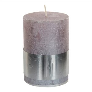 Metallic Soft Pink Pillar Candle 10x7cm