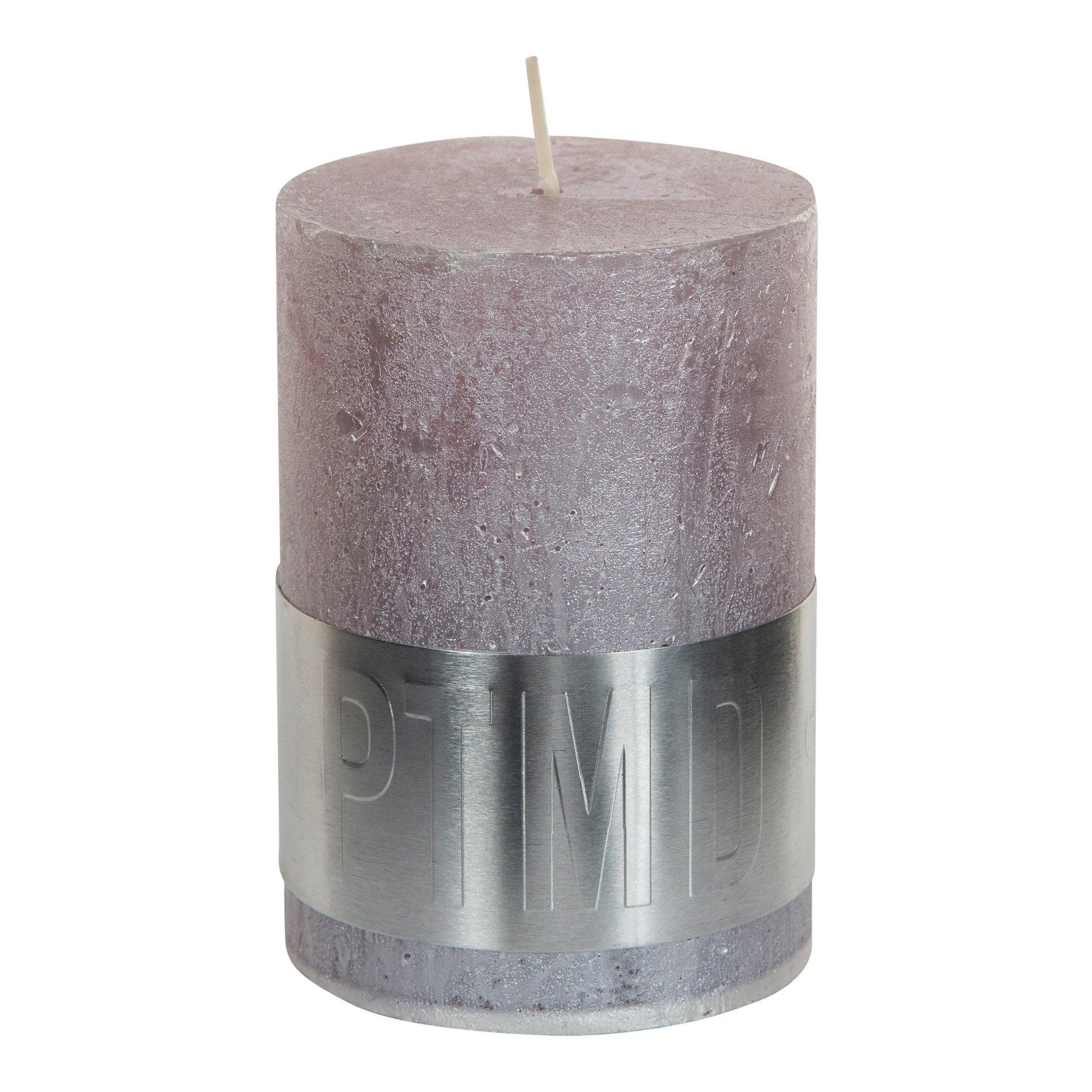 Metallic Soft Pink Pillar Candle 10x7cm