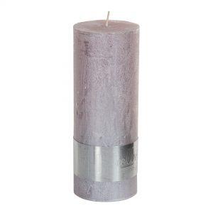 Metallic Soft Pink Pillar Candle 18x7cm