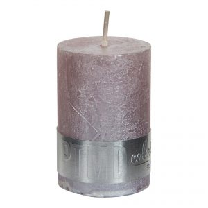 Metallic Soft Pink Pillar Candle 6x4cm