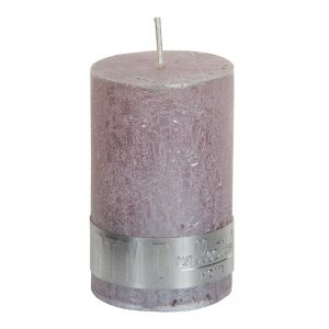 Metallic Soft Pink Pillar Candle 8x5cm