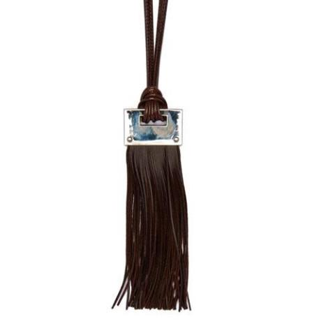 Long Brown Leather Look Necklace with Silver Block