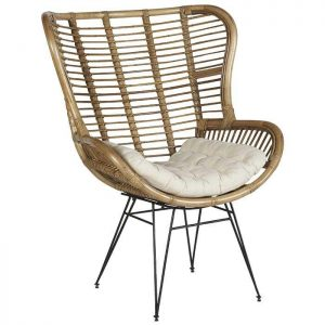 Tall Rattan Winged Armchair