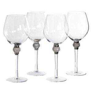 Silver Crystal Ball Red Wine Glass