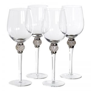 Silver Crystal Ball White Wine Glass