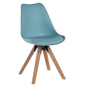 Moulded Dining Chair With Wooden Legs Blue