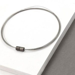Multi Wire Contemporary Necklace with Cylindrical Magnetic Clasp