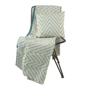 Zig-zag Linen Mix Throw Blue