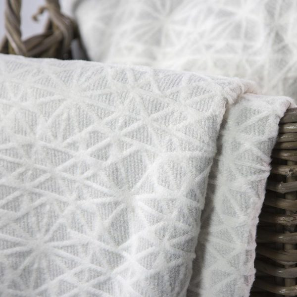 Off White Structured Grid Deco Throw