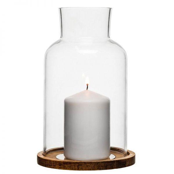 Oval Oak Candle Holder Large