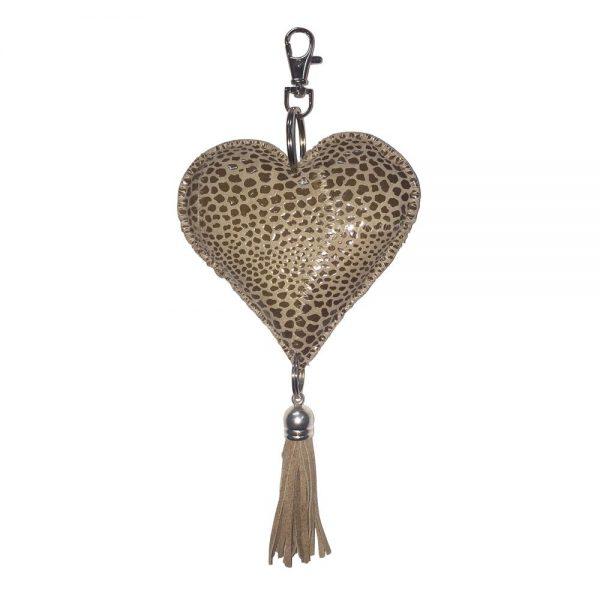 Leather Heart Cobra Print Keychain