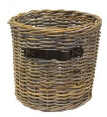 Small Round Log Basket with Leather Handles