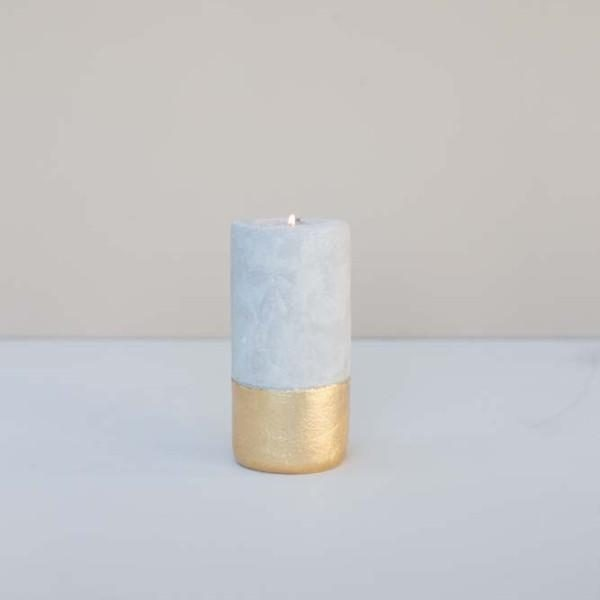 Tall Concrete T-Light Holder with Gold Finish