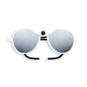 Izipizi #Sun Glacier Aviator Full White White Shields with Mirror Lens Cat 4