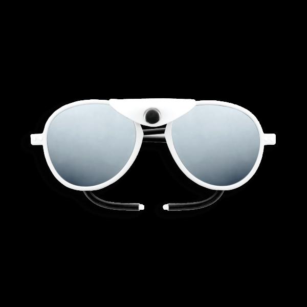 Izipizi #Sun Glacier Aviator Full White White Shields with Mirror Lens Cat 4