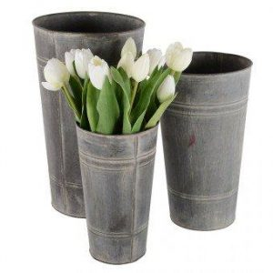 Florist Buckets – Set of 3 Zinc